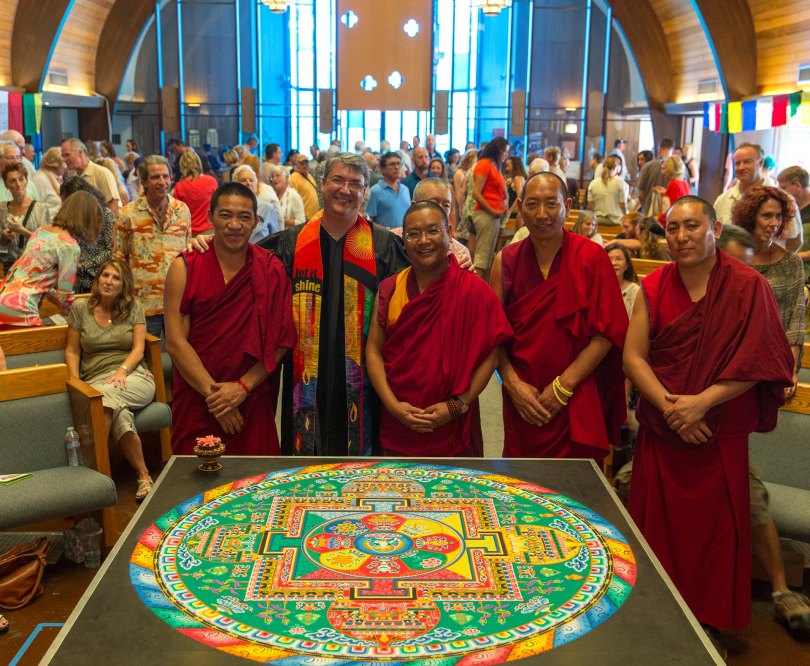NCC's Rev. BJ with monks from Drepung Loseling Monastery in South India in November 2015. Photo Tom Lamb.
